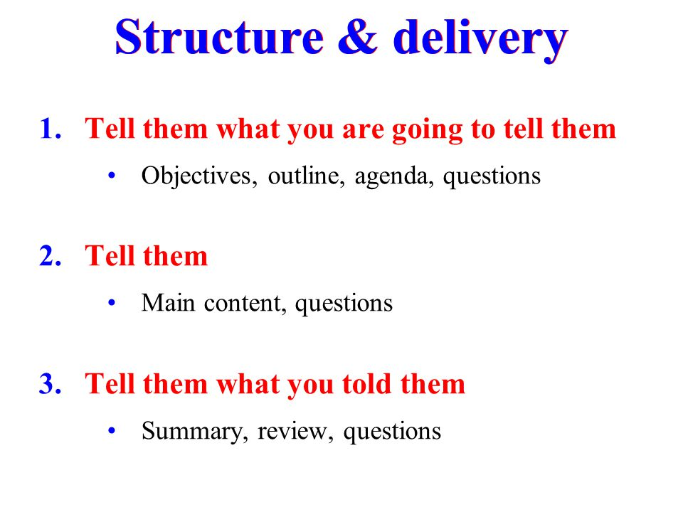 Structure & delivery Tell them what you are going to tell them