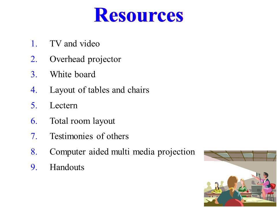 Resources TV and video Overhead projector White board