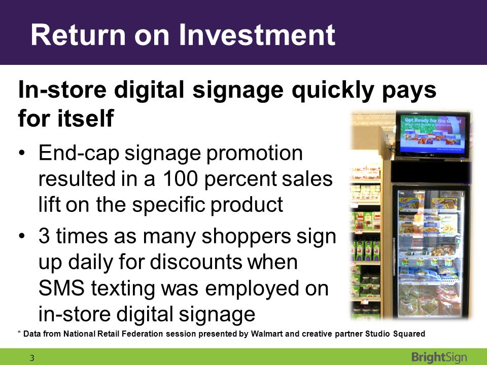 Return on Investment In-store digital signage quickly pays for itself