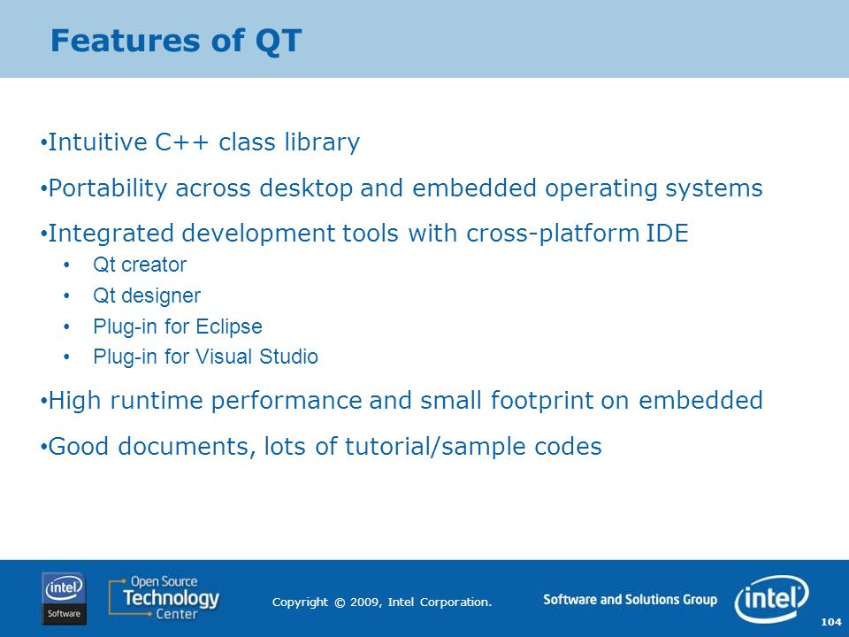 Features of QT Intuitive C++ class library