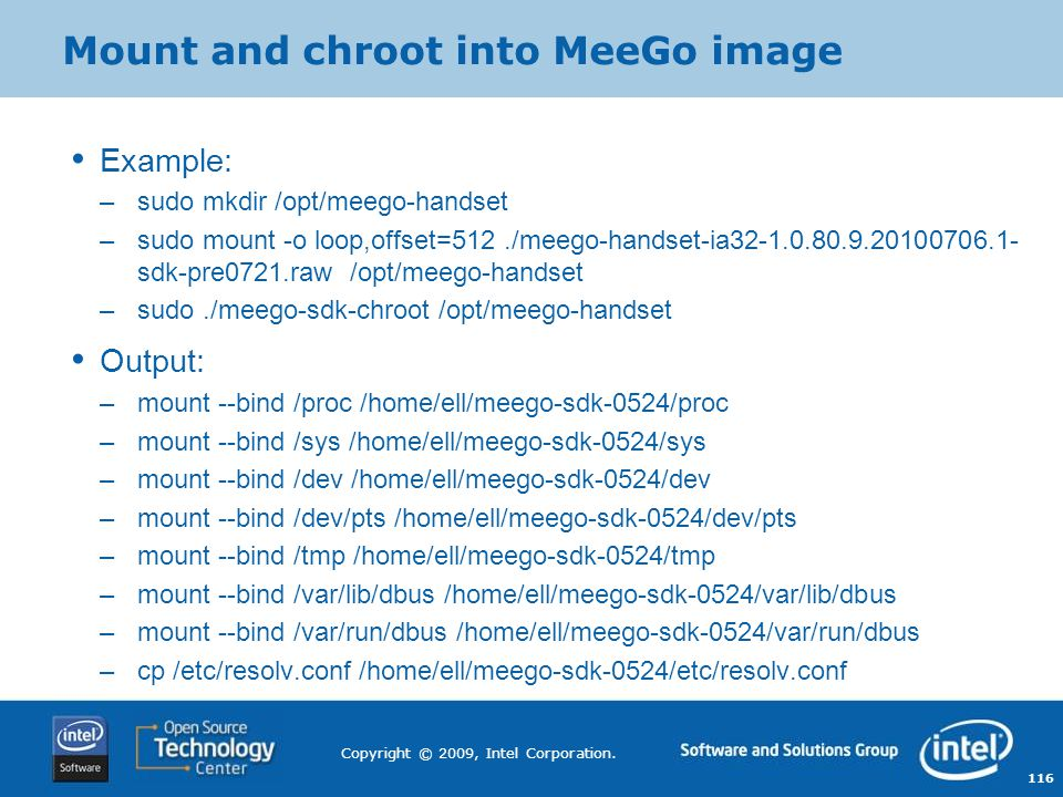 Mount and chroot into MeeGo image