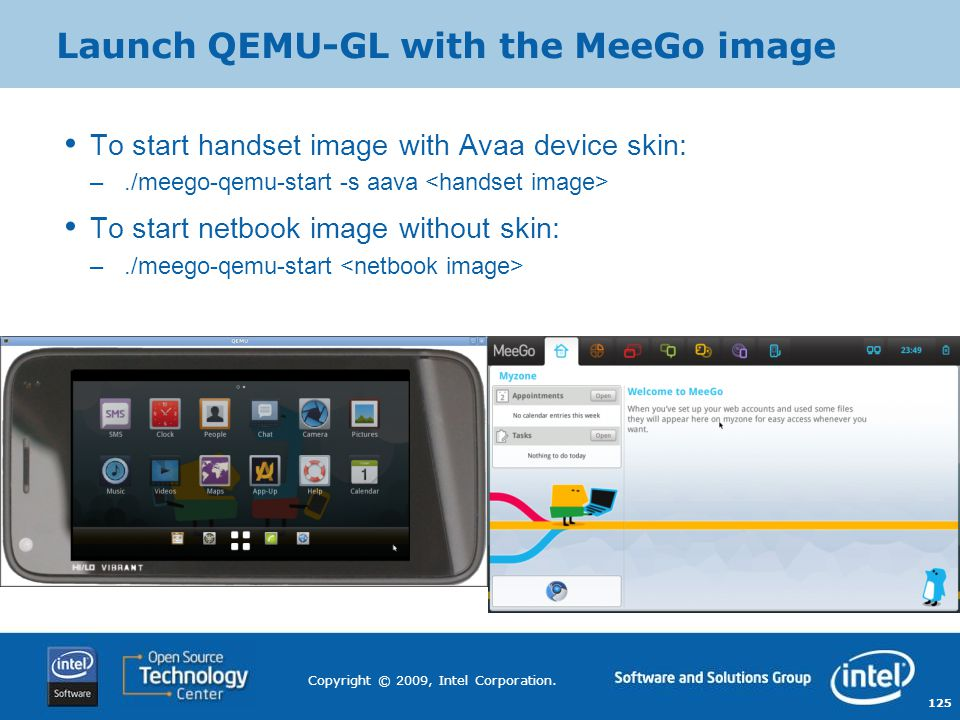 Launch QEMU-GL with the MeeGo image