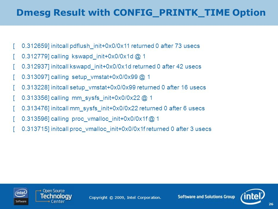 Dmesg Result with CONFIG_PRINTK_TIME Option