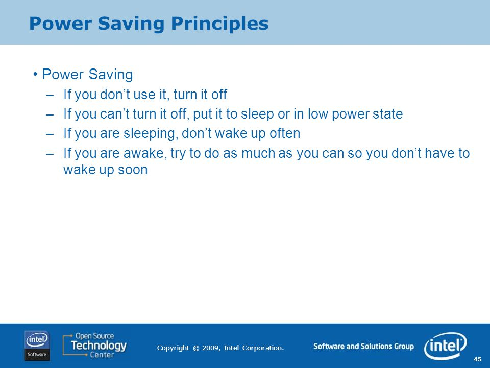 Power Saving Principles