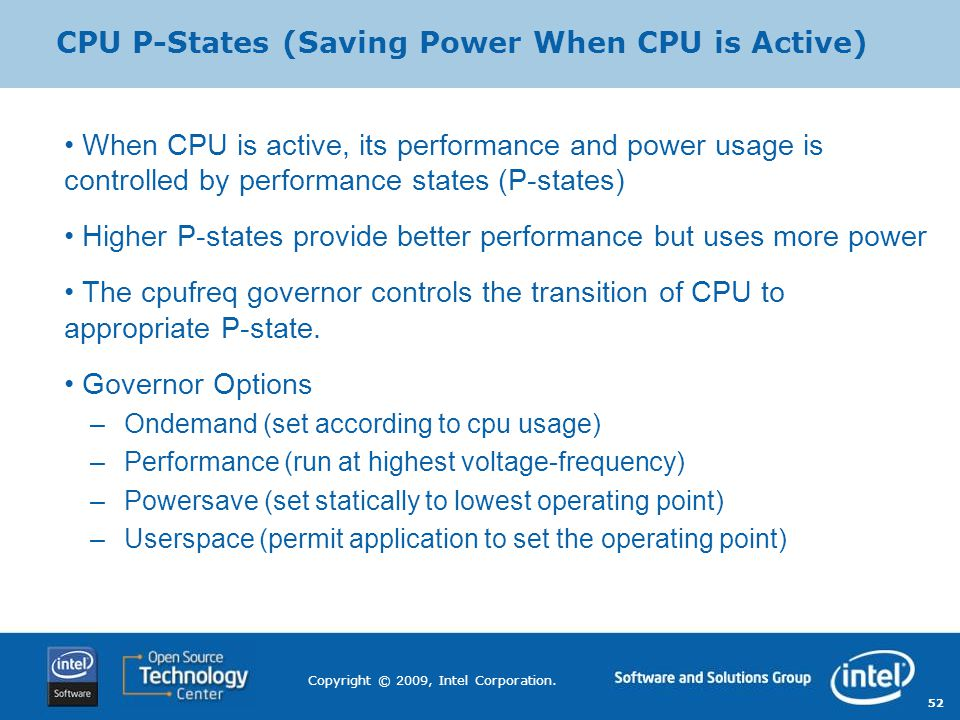 CPU P-States (Saving Power When CPU is Active)