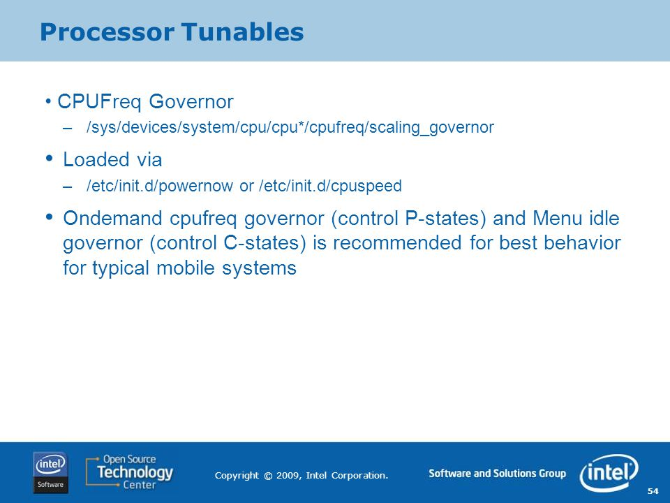 Processor Tunables CPUFreq Governor Loaded via