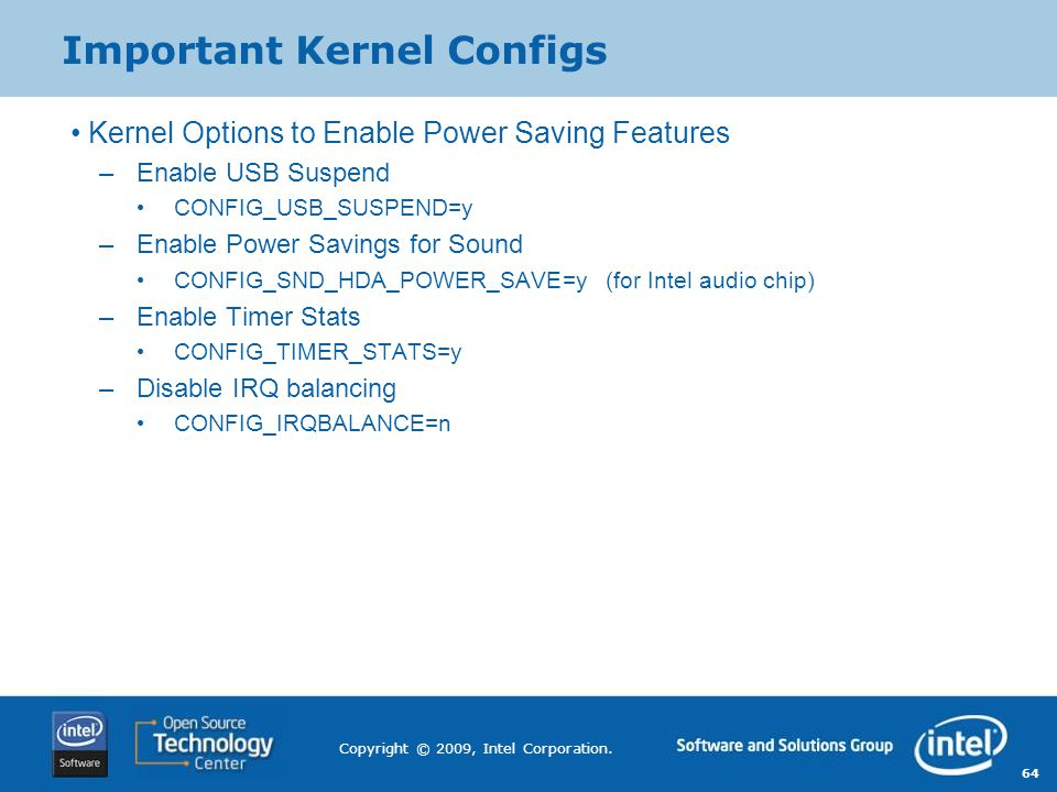 Important Kernel Configs