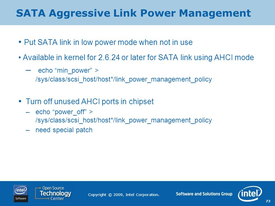 SATA Aggressive Link Power Management