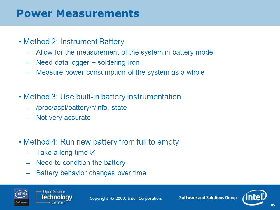 Power Measurements Method 2: Instrument Battery