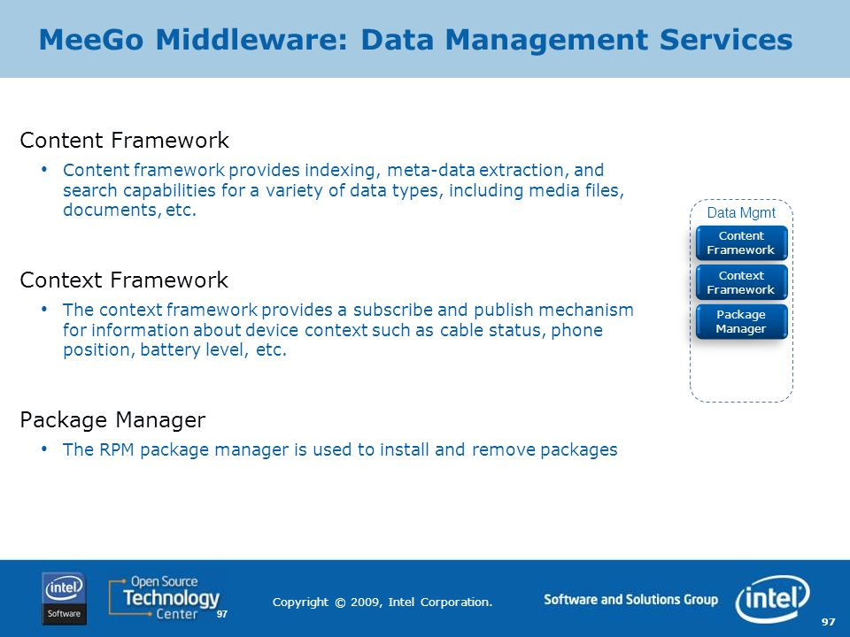 MeeGo Middleware: Data Management Services