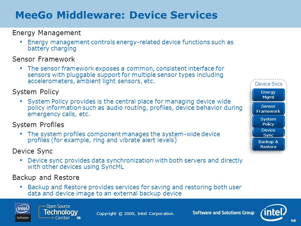 MeeGo Middleware: Device Services
