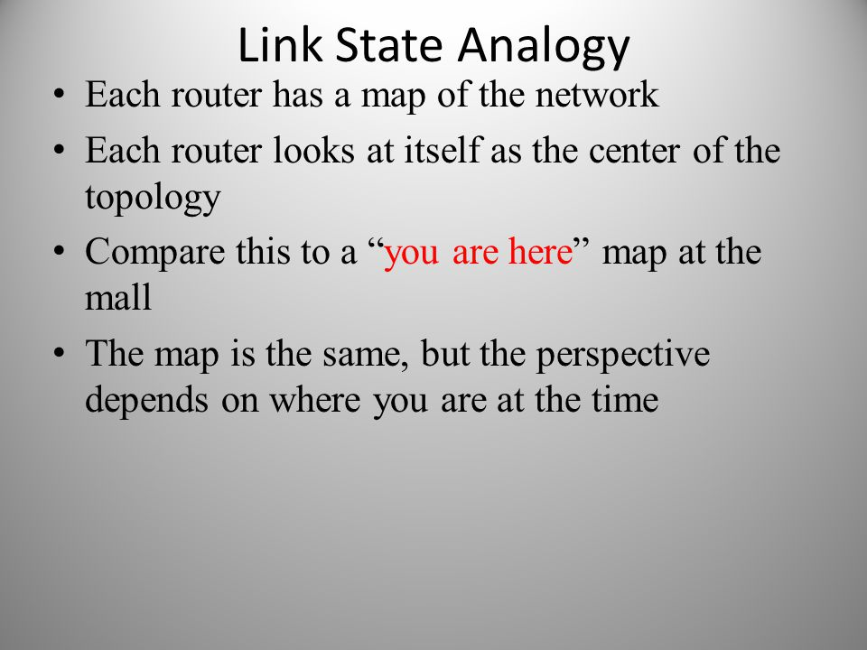 Link State Analogy Each router has a map of the network