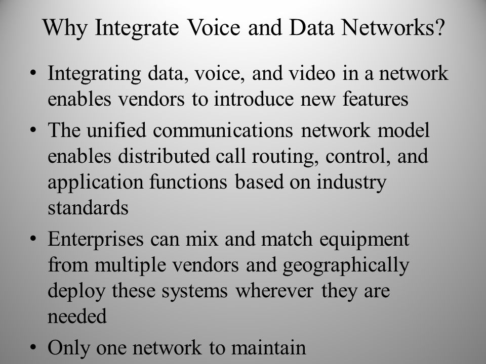 Why Integrate Voice and Data Networks