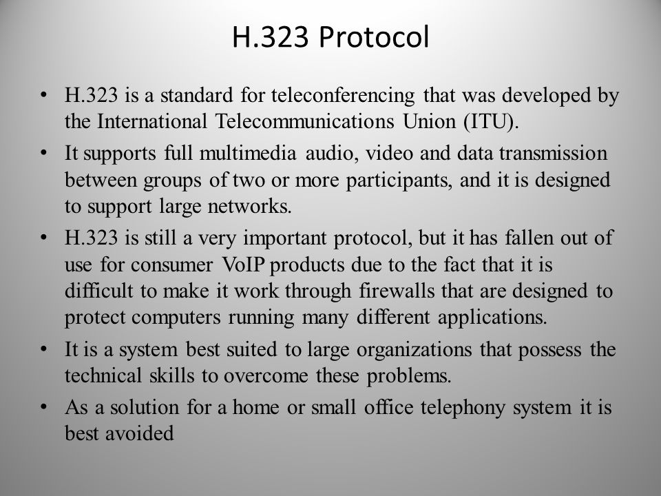 H.323 Protocol H.323 is a standard for teleconferencing that was developed by the International Telecommunications Union (ITU).