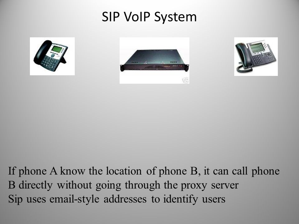 SIP VoIP System If phone A know the location of phone B, it can call phone B directly without going through the proxy server.