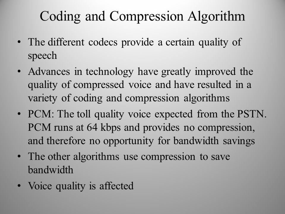 Coding and Compression Algorithm