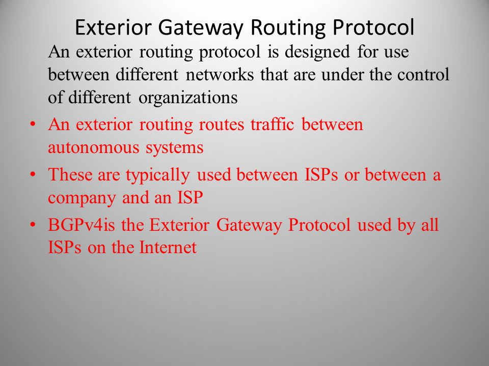 Exterior Gateway Routing Protocol