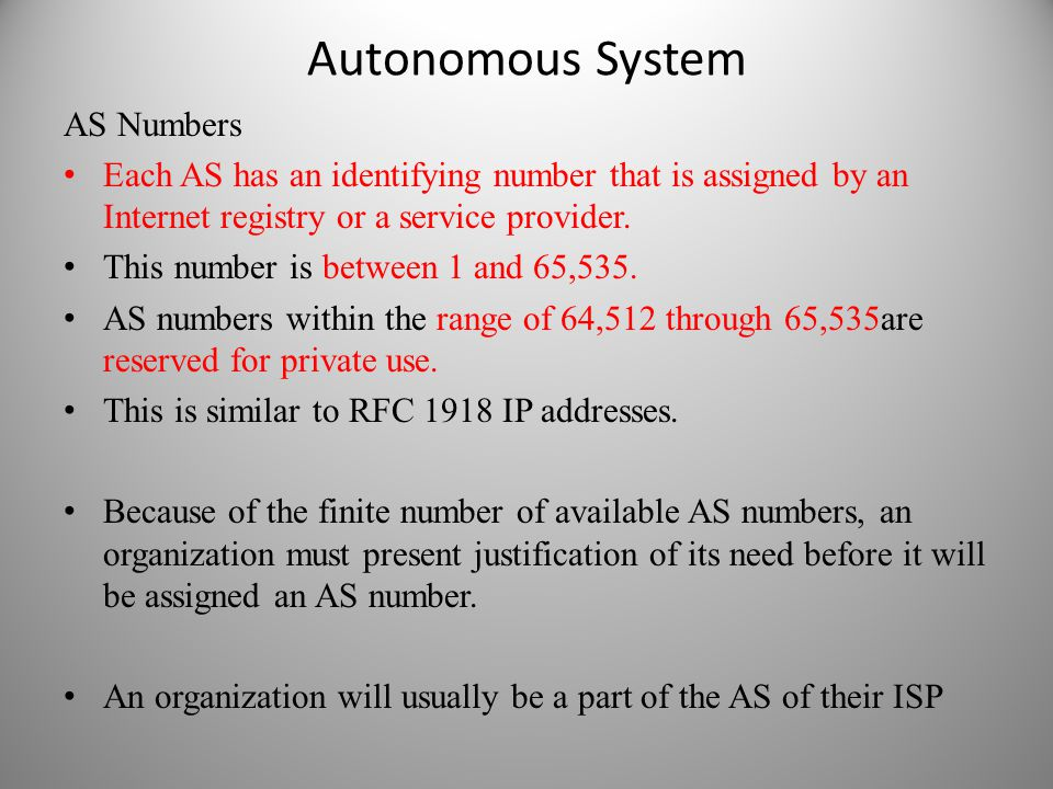 Autonomous System AS Numbers