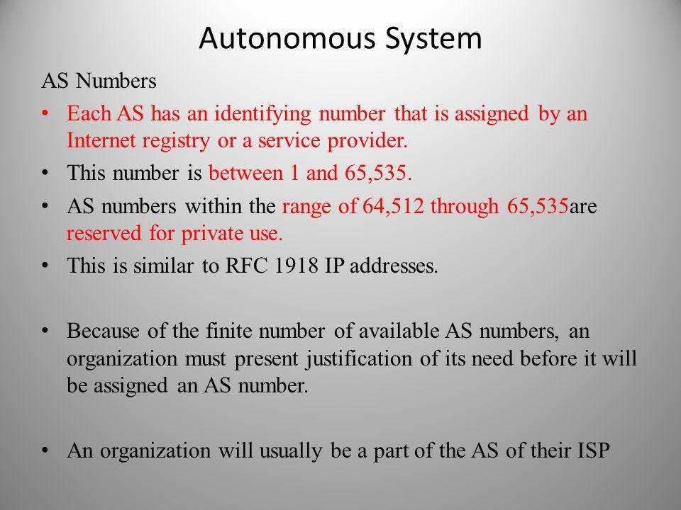 Autonomous System AS Numbers