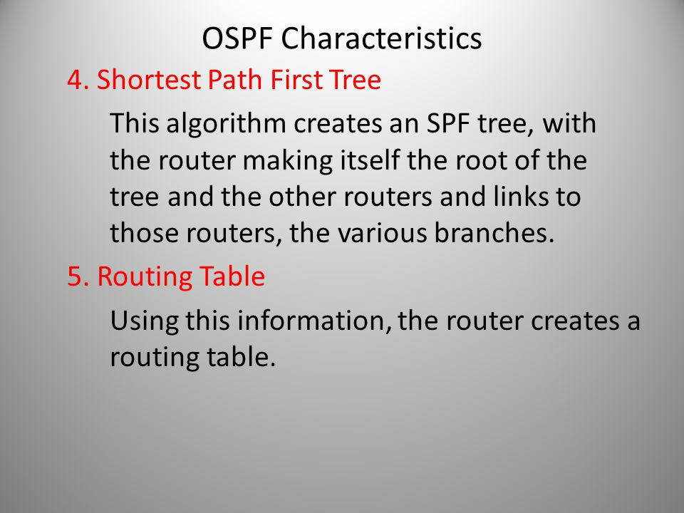 OSPF Characteristics 4. Shortest Path First Tree