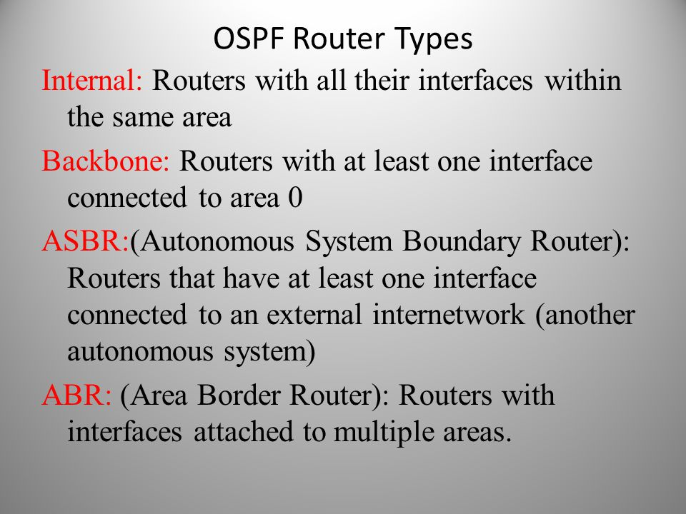 OSPF Router Types