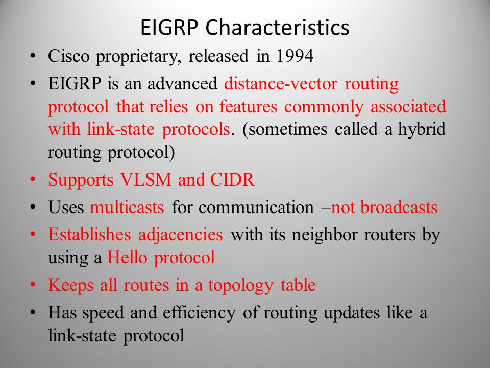 EIGRP Characteristics