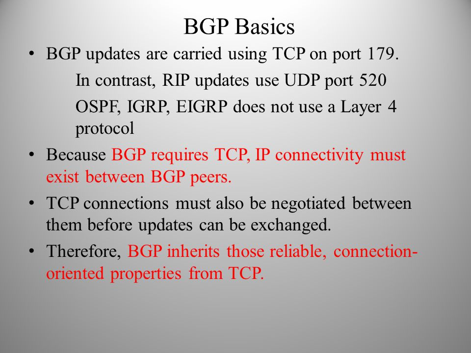 BGP Basics BGP updates are carried using TCP on port 179.