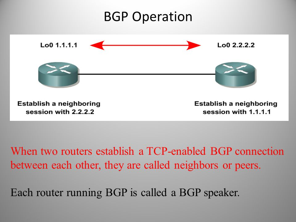 BGP Operation When two routers establish a TCP-enabled BGP connection between each other, they are called neighbors or peers.