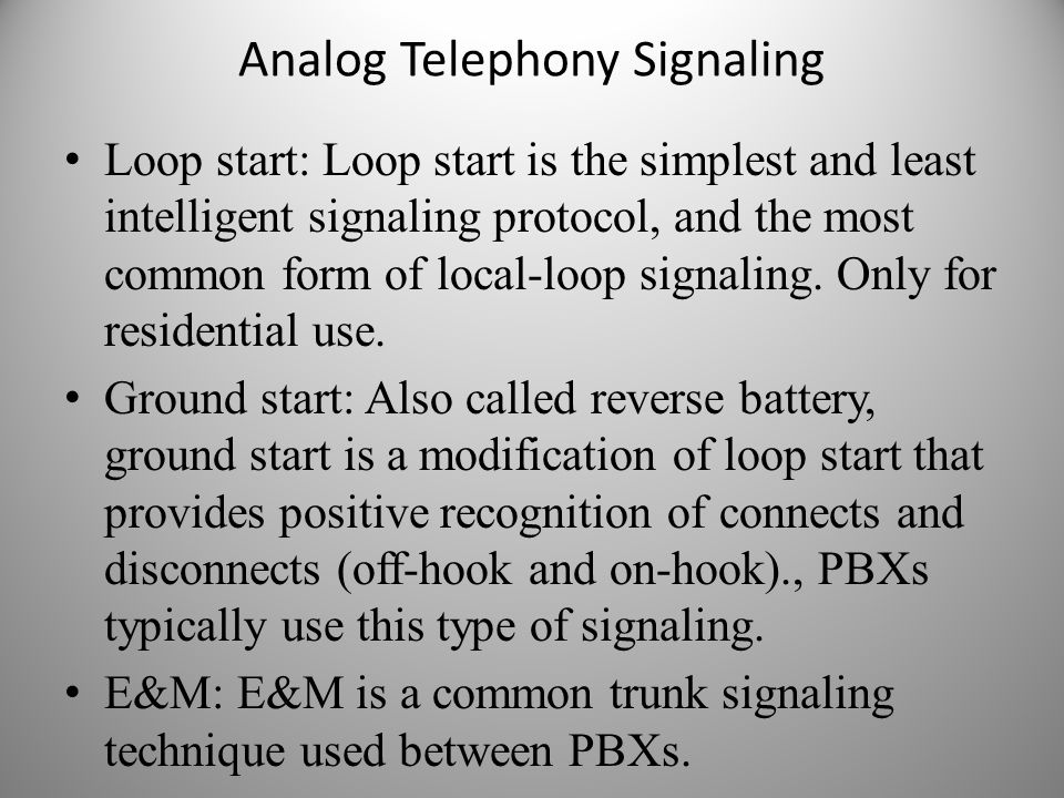 Analog Telephony Signaling