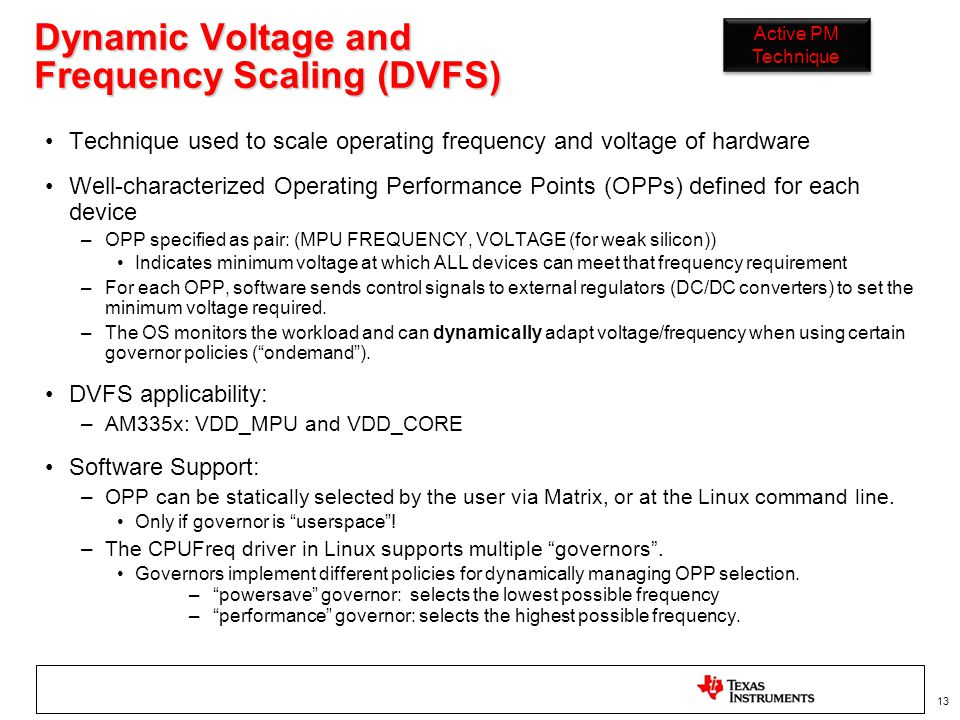 Dynamic Voltage and Frequency Scaling (DVFS)