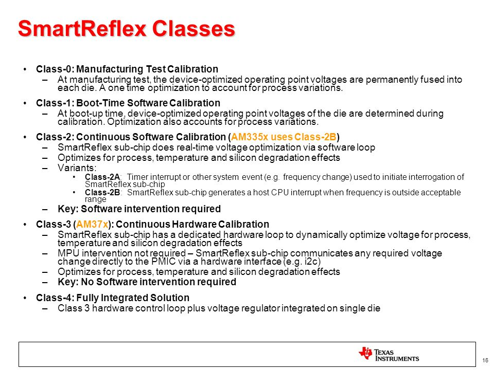 SmartReflex Classes Class-0: Manufacturing Test Calibration