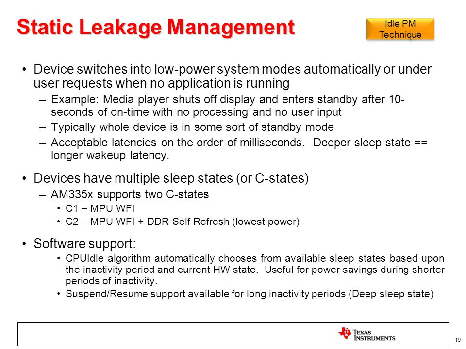 Static Leakage Management