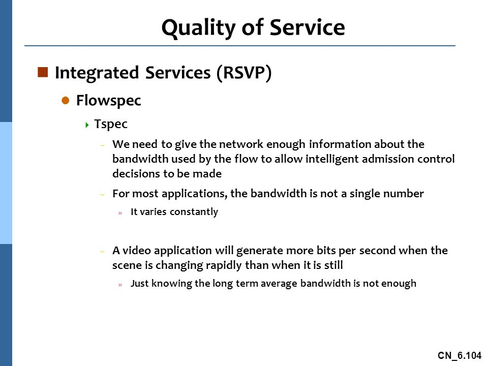 Quality of Service Integrated Services (RSVP) Flowspec Tspec