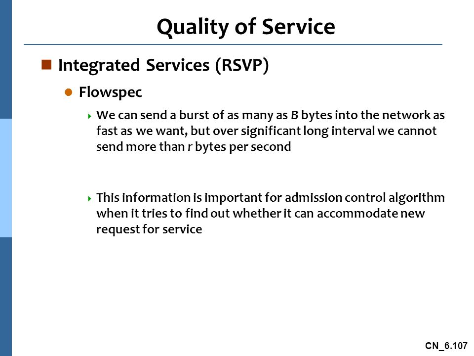 Quality of Service Integrated Services (RSVP) Flowspec