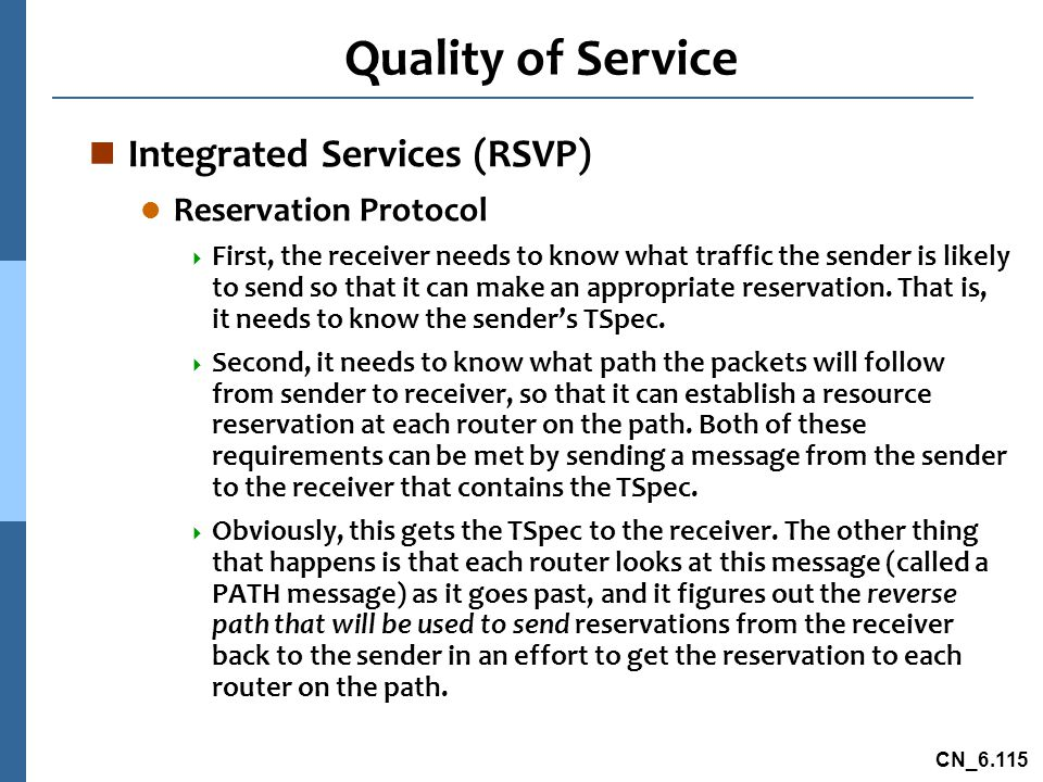 Quality of Service Integrated Services (RSVP) Reservation Protocol