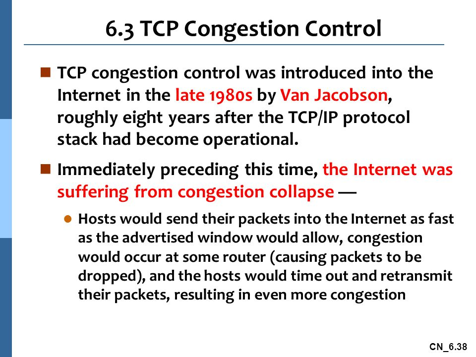 6.3 TCP Congestion Control