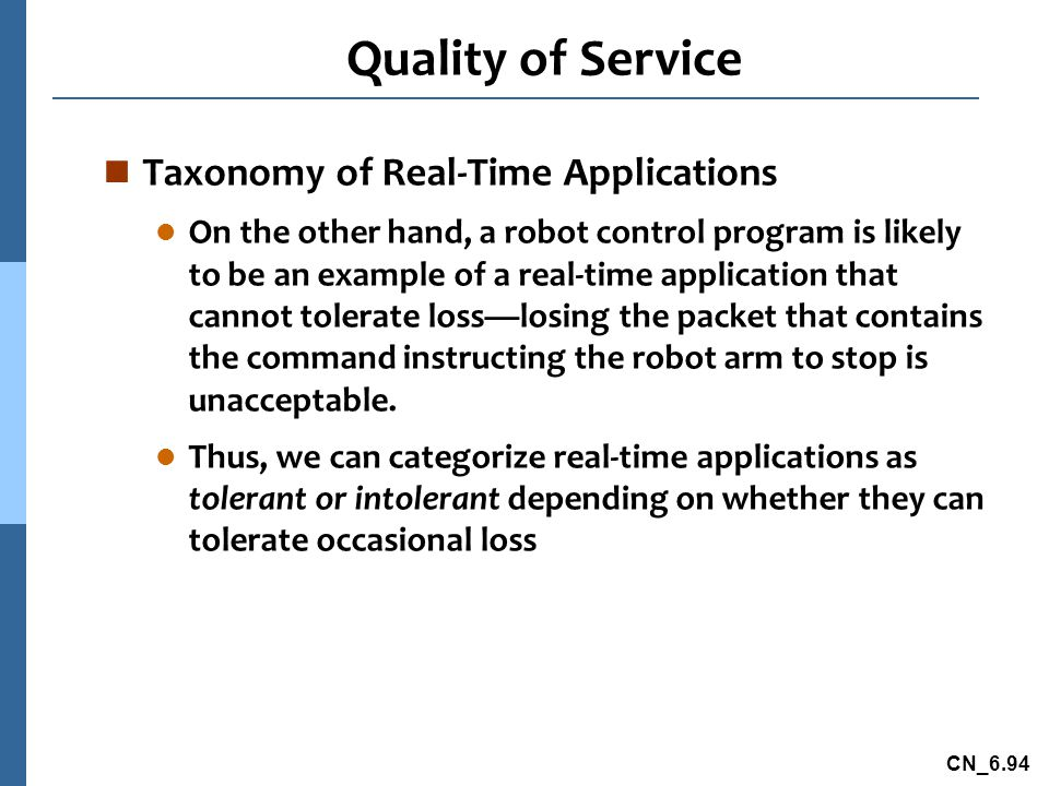 Quality of Service Taxonomy of Real-Time Applications