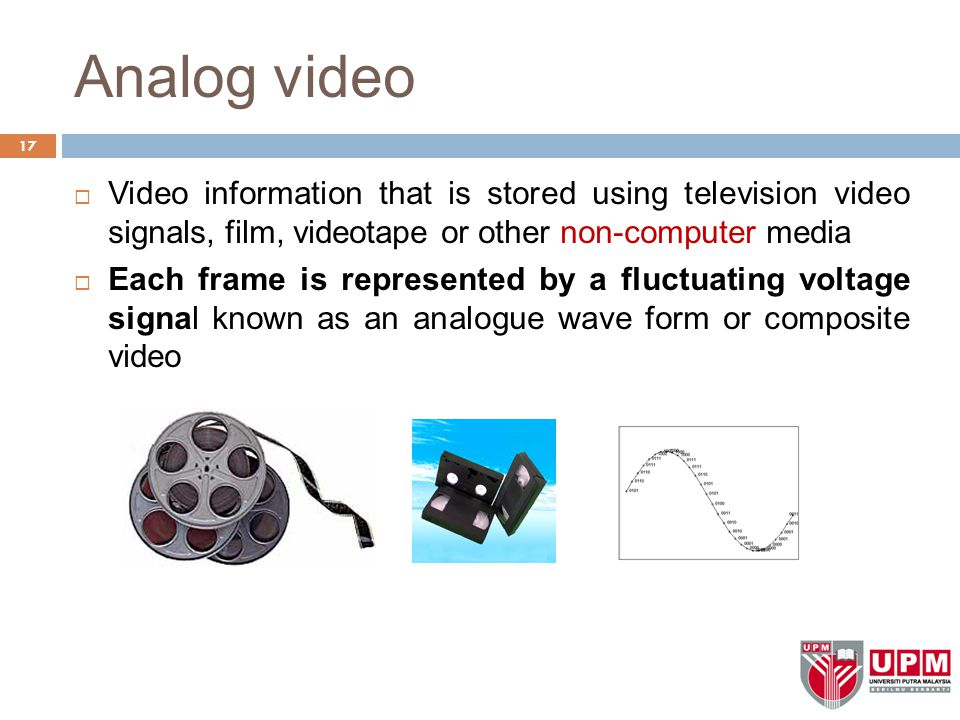Analog video Video information that is stored using television video signals, film, videotape or other non-computer media.
