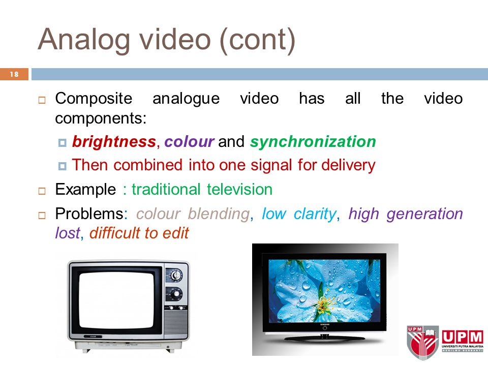 Analog video (cont) Composite analogue video has all the video components: brightness, colour and synchronization.