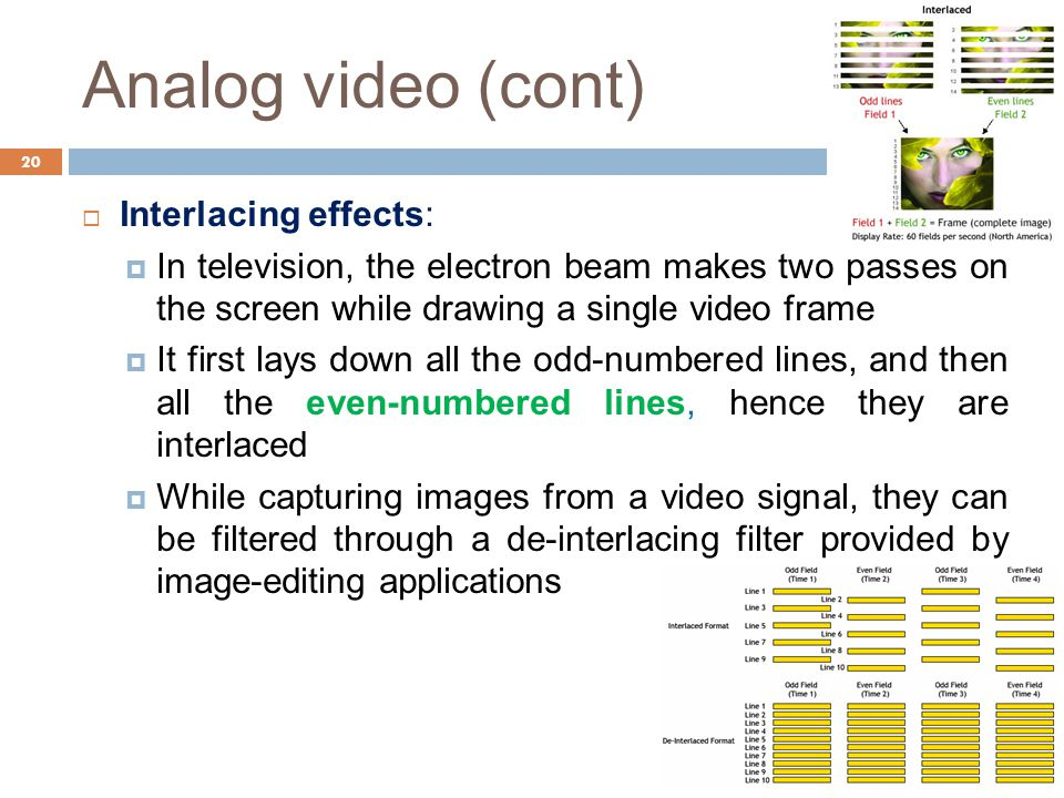 Analog video (cont) Interlacing effects: