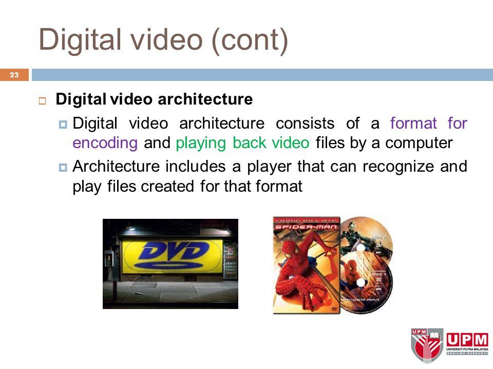 Digital video (cont) Digital video architecture
