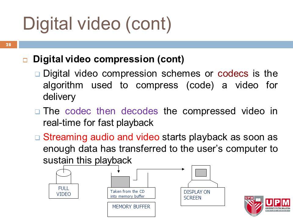 Digital video (cont) Digital video compression (cont)