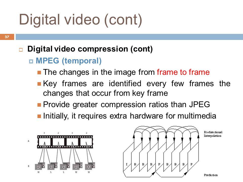 Digital video (cont) Digital video compression (cont) MPEG (temporal)