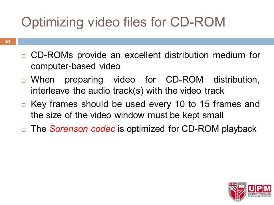 Optimizing video files for CD-ROM
