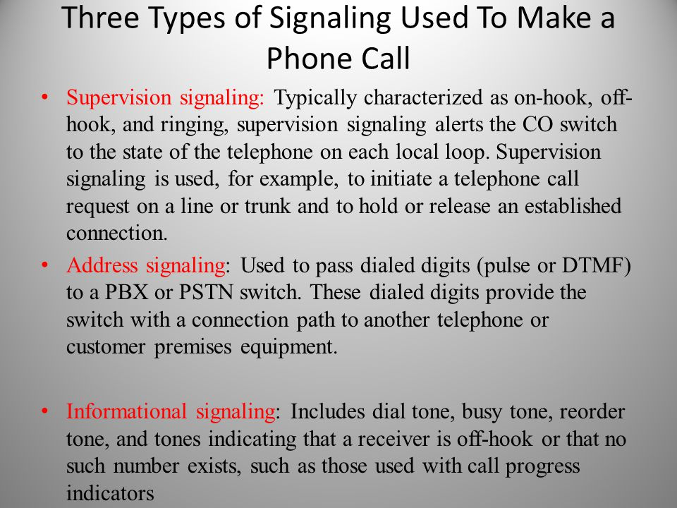 Three Types of Signaling Used To Make a Phone Call