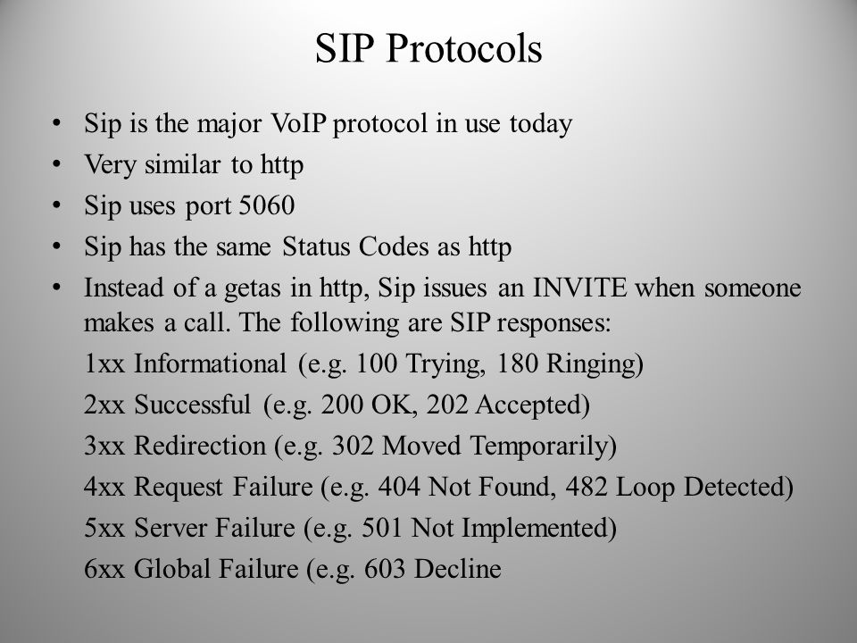 SIP Protocols Sip is the major VoIP protocol in use today