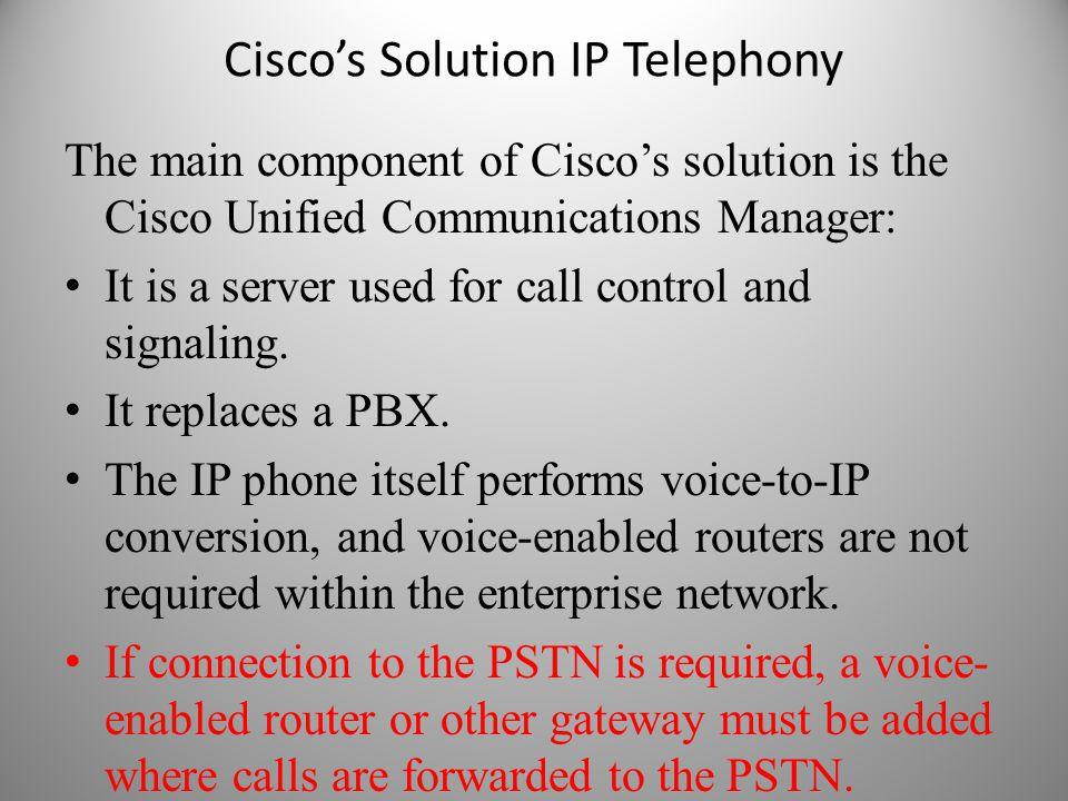 Cisco's Solution IP Telephony