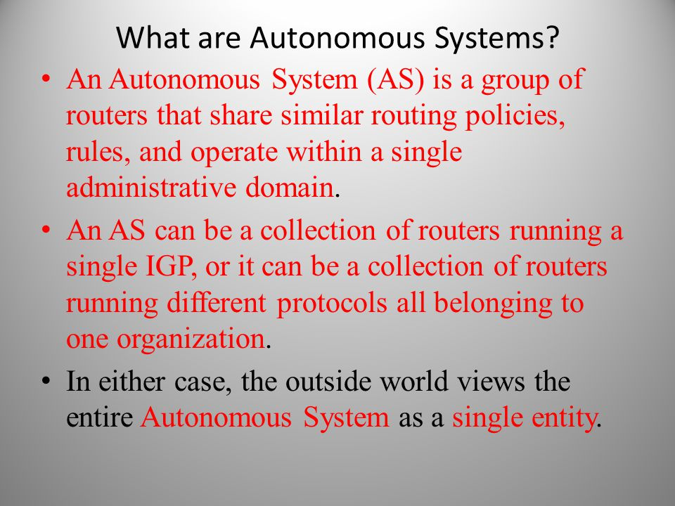 What are Autonomous Systems