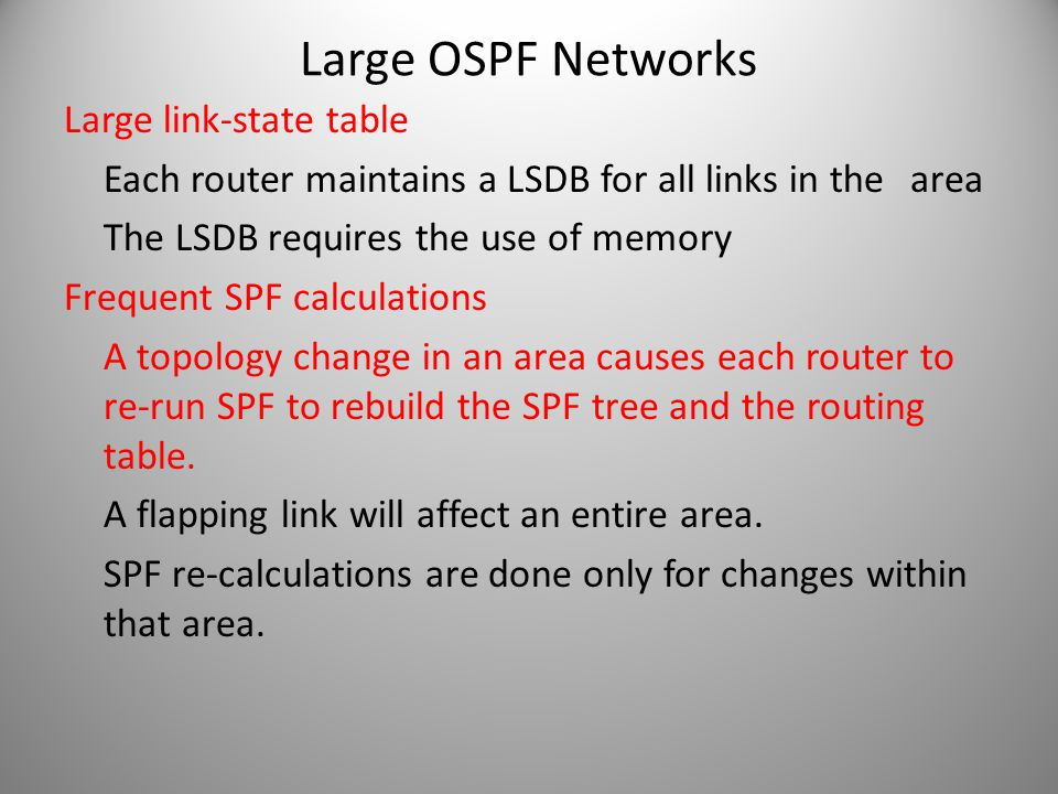 Large OSPF Networks Large link-state table