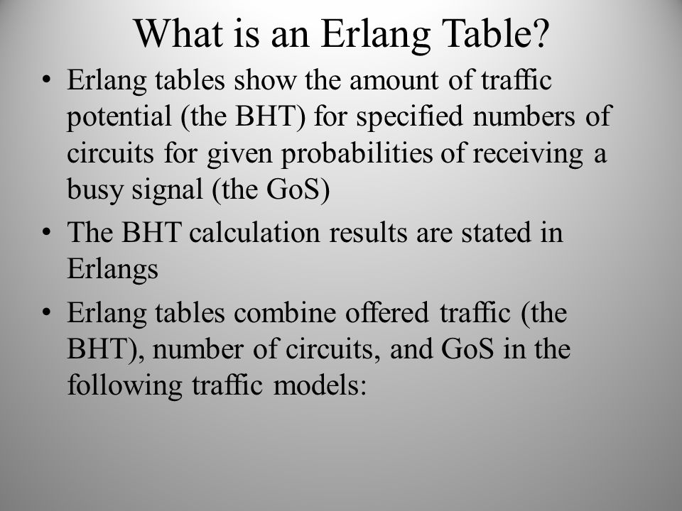 What is an Erlang Table